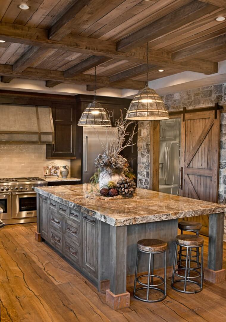 Sierra Escape Rustic Wood U0026 Stone Kitchen