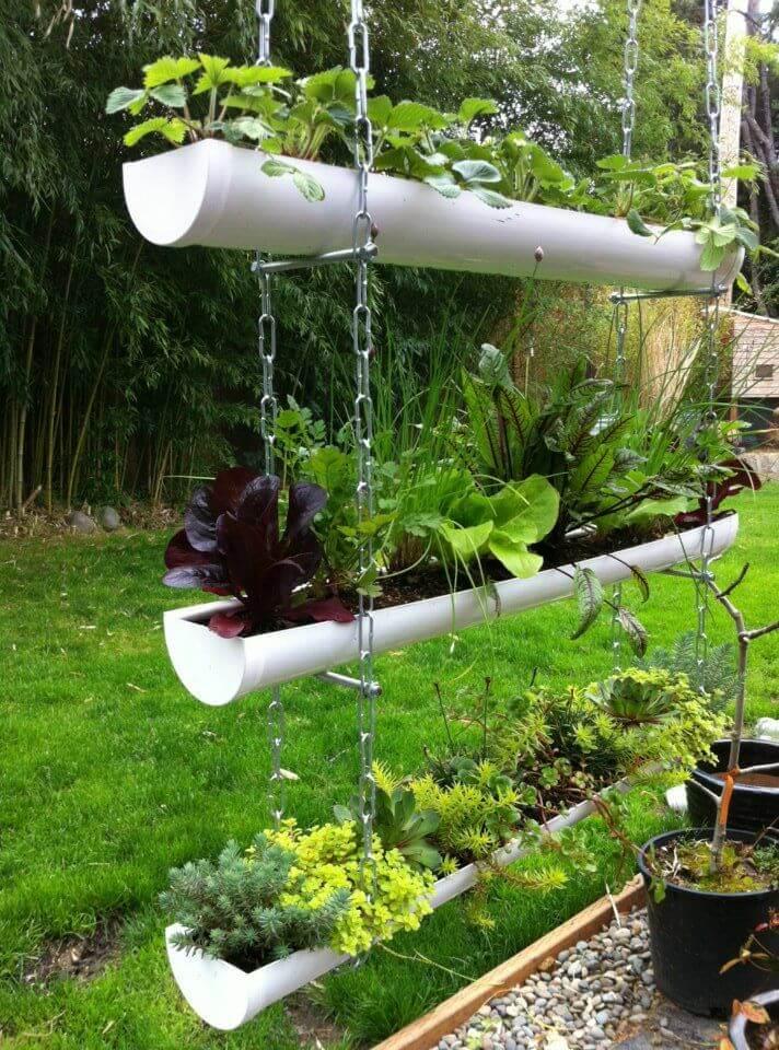 Creative Garden Ideas gardening ideas vertical planter container gardens and landscape design ideas Plastic Pipe Hanging Garden Idea