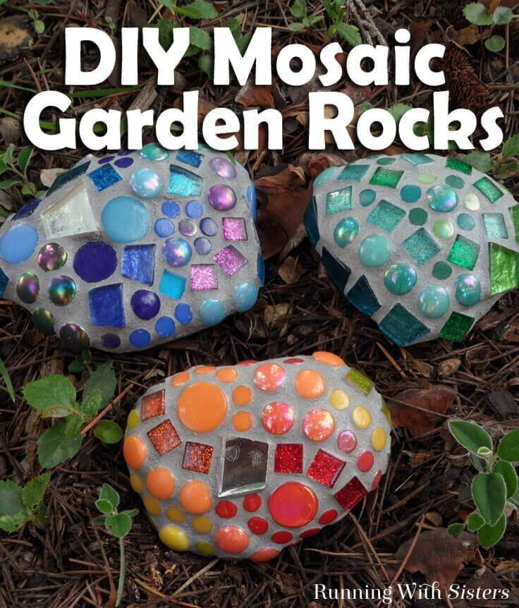 DIY Mosaic Garden Rock Decorations