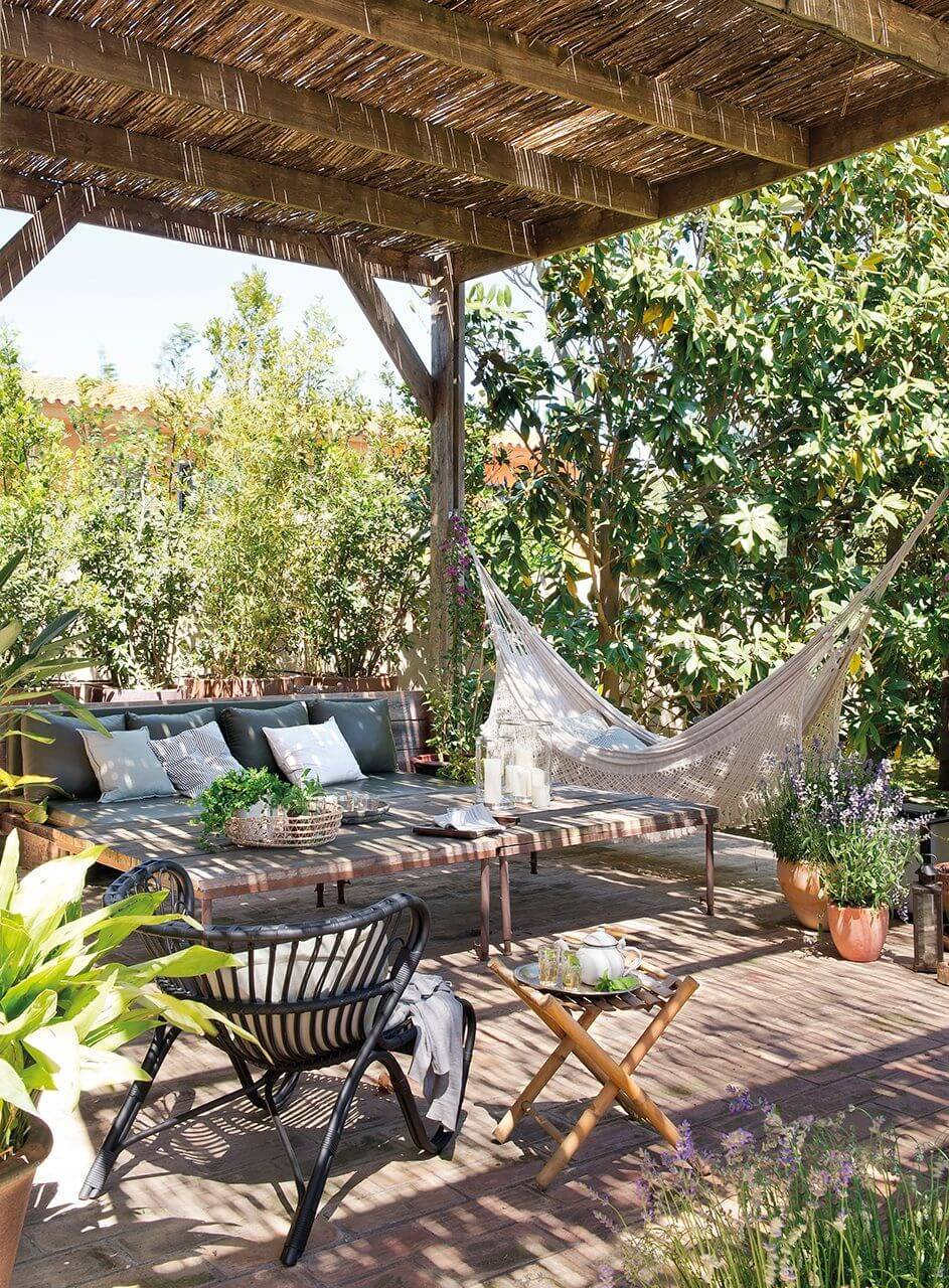 Provincial Cottage Pergola Setting With Hammock