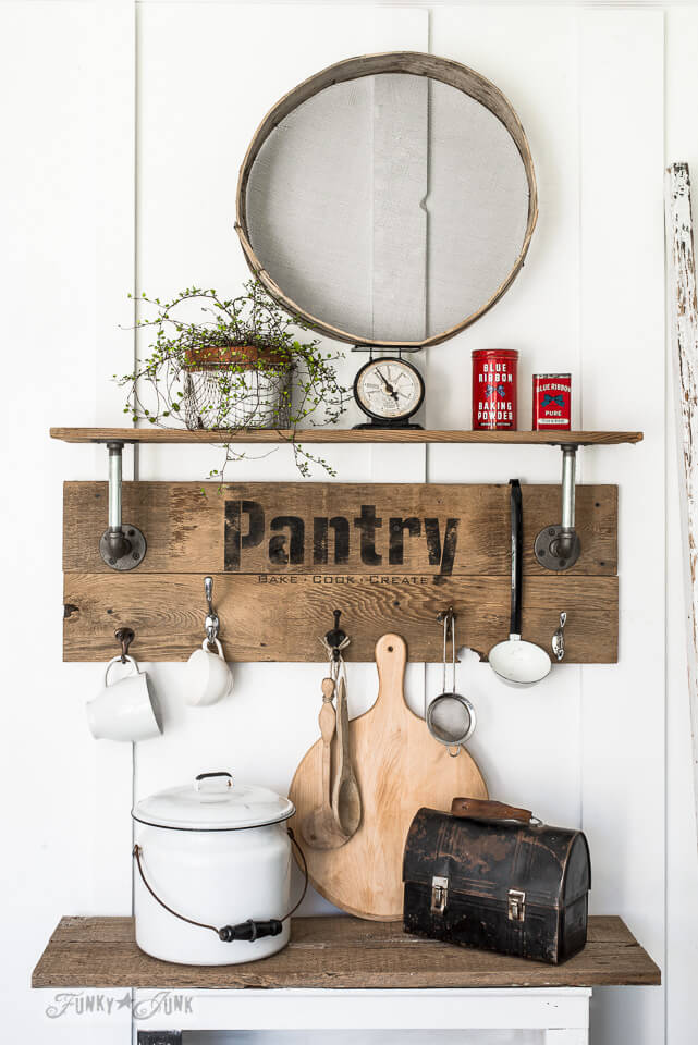 Wood Pantry Sign with Shelf