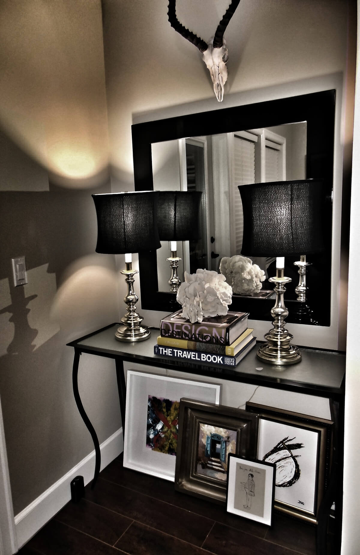Black and White Decor Entryway Mirror