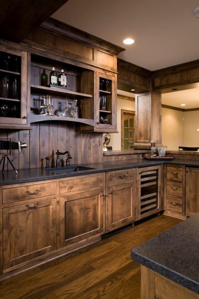 Attractive Rustic Kitchen Ideas Part - 5: Cabin In The Wood-Paneled Kitchen