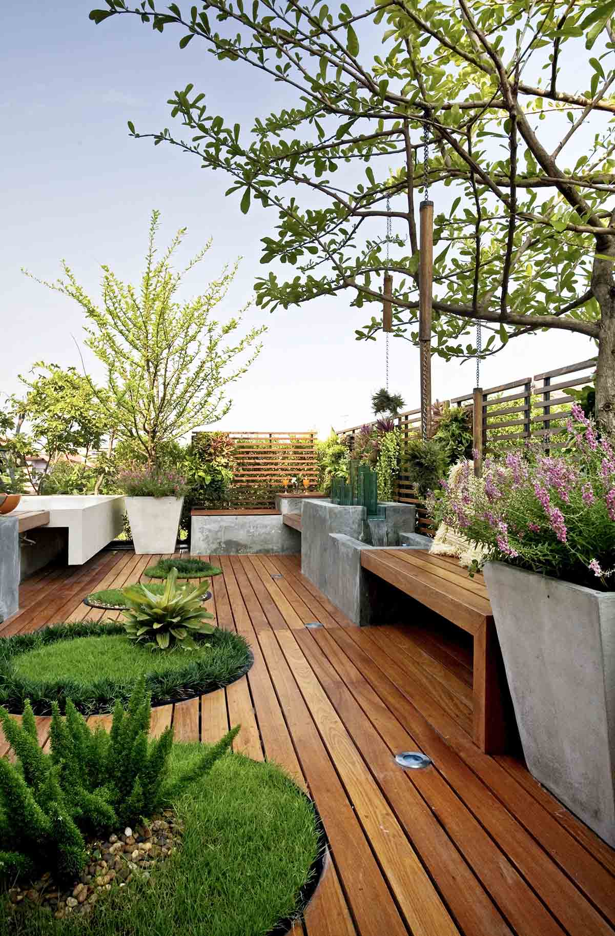 Concrete Planters and In-Set Grass Patches