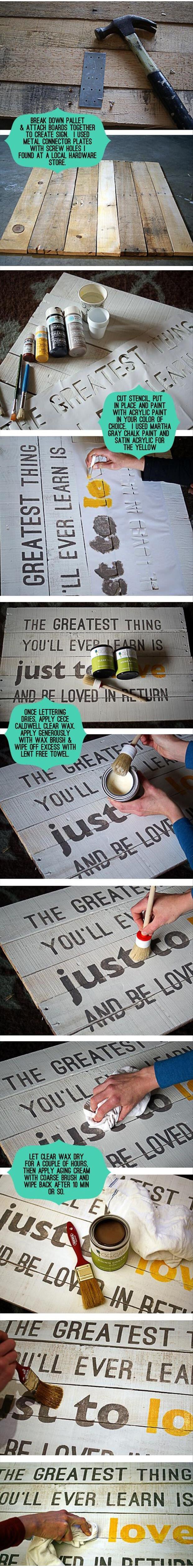 Wood Pallet Love Quote Art