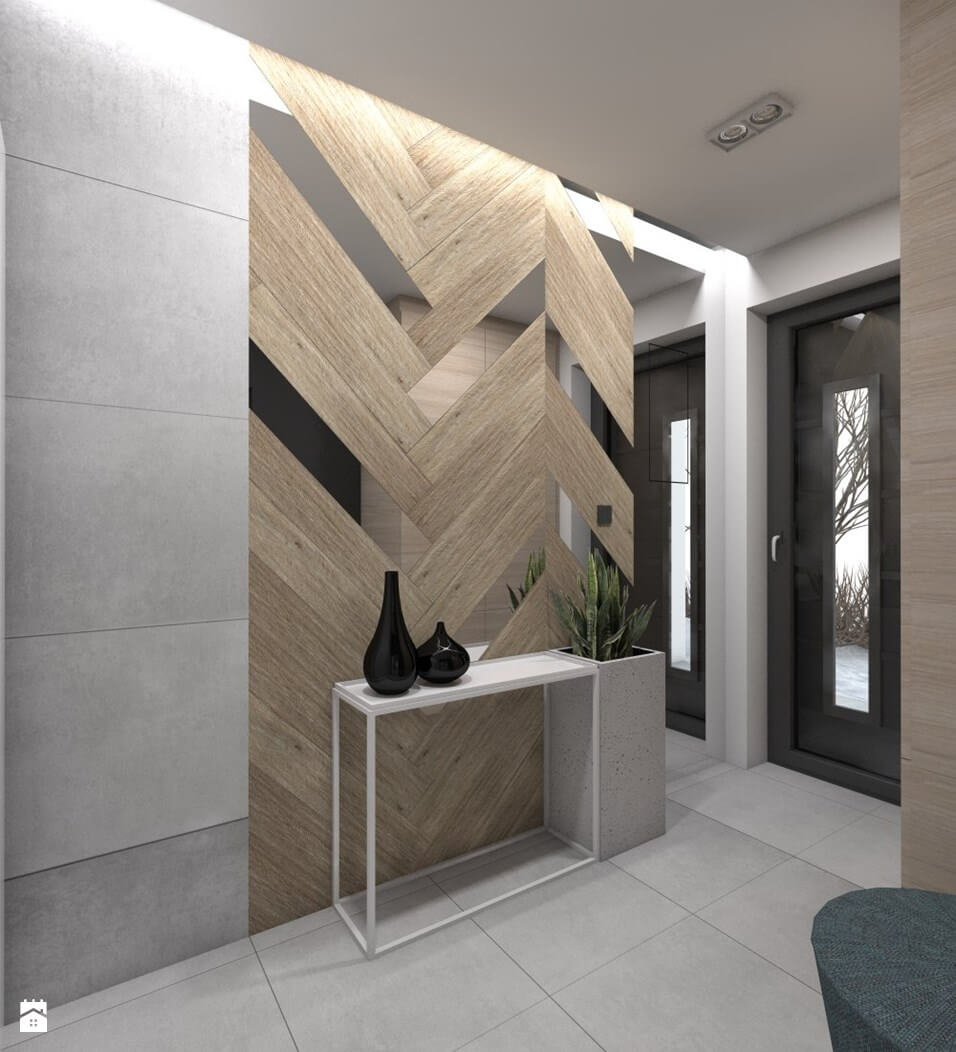 Wood and Mirror Chevron Wall