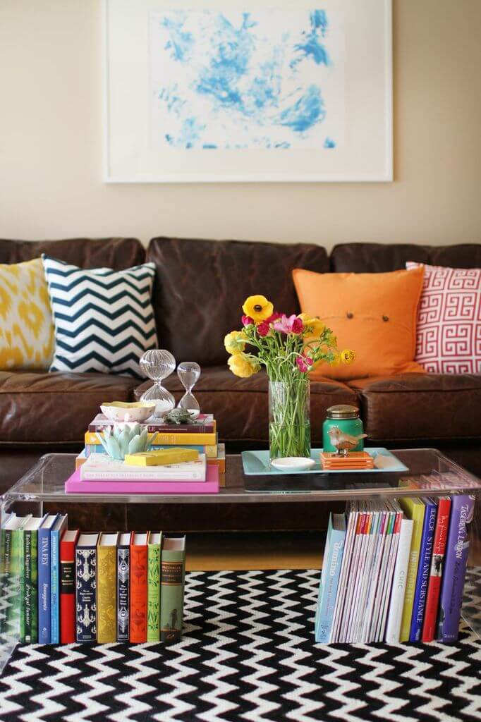 Book-lover's Dream Acrylic Table with Storage Space and a Poppy Bouquet