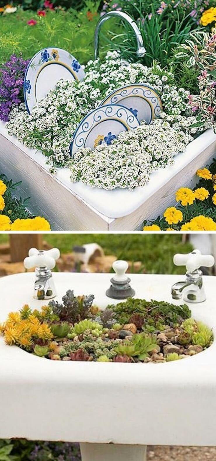 DIY Vintage Sink Garden Planter