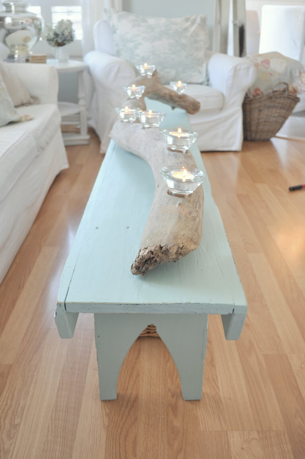 Natural Driftwood Votive Holder on an Upcycled Sea-blue Table