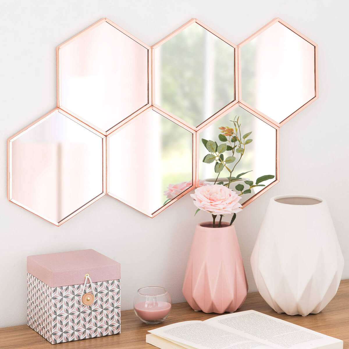 33 best mirror decoration ideas and designs for 2018 pretty pink hexagon mirror cluster publicscrutiny Image collections