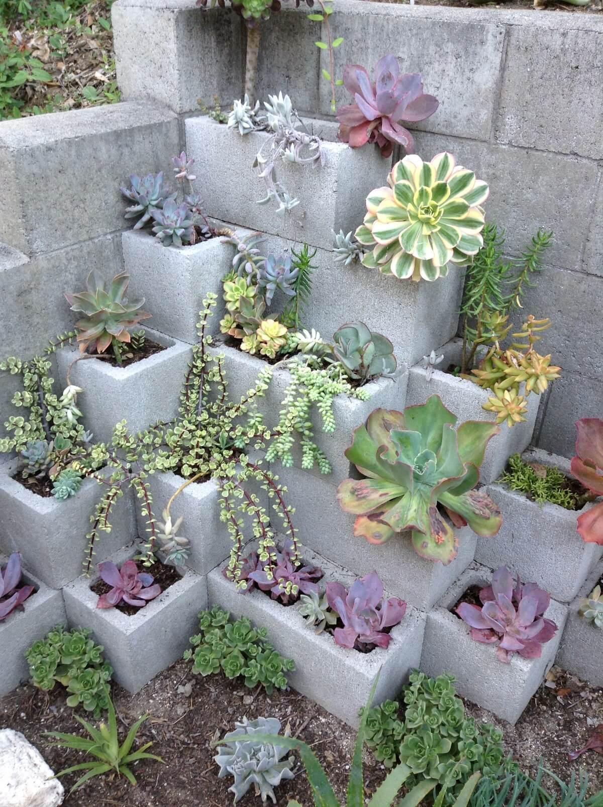Concrete Block Corner Garden Planter
