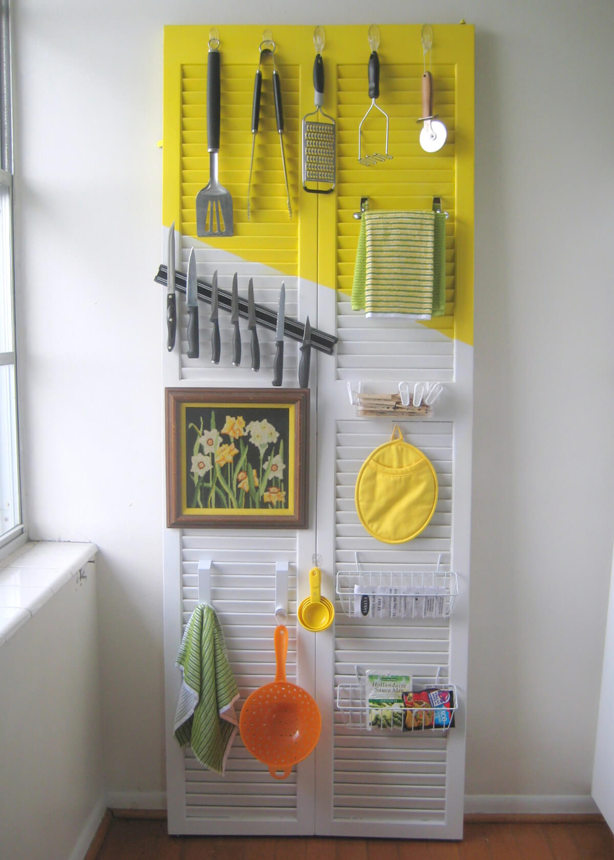 DIY Shutter Kitchen Tool Organizer