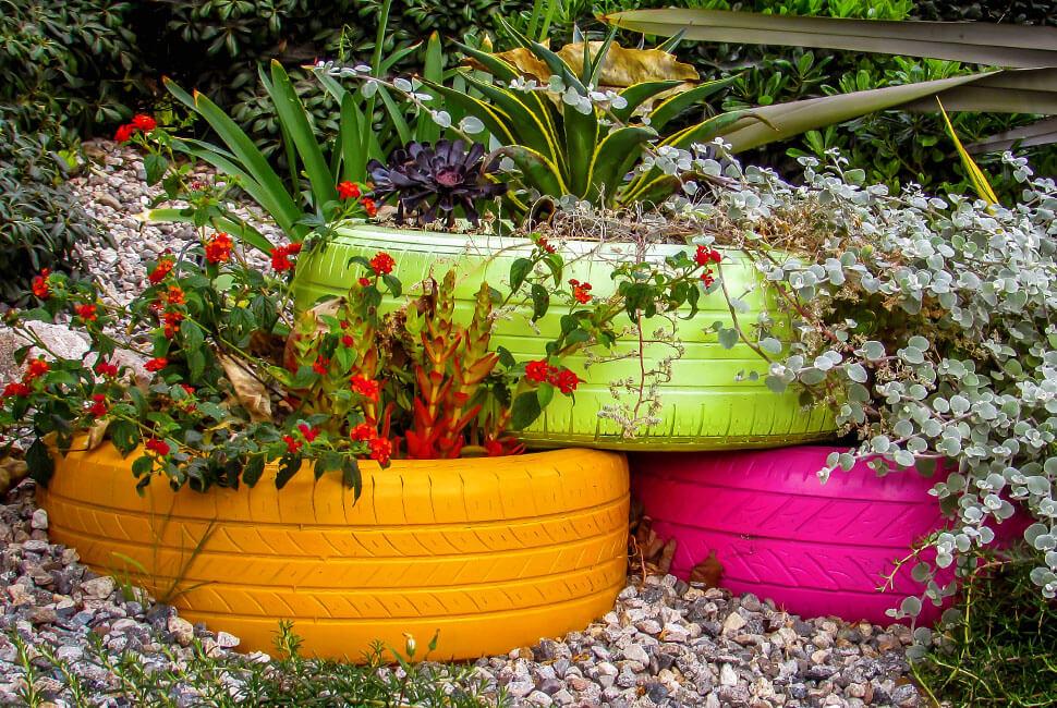 Painted Tire Flower Display