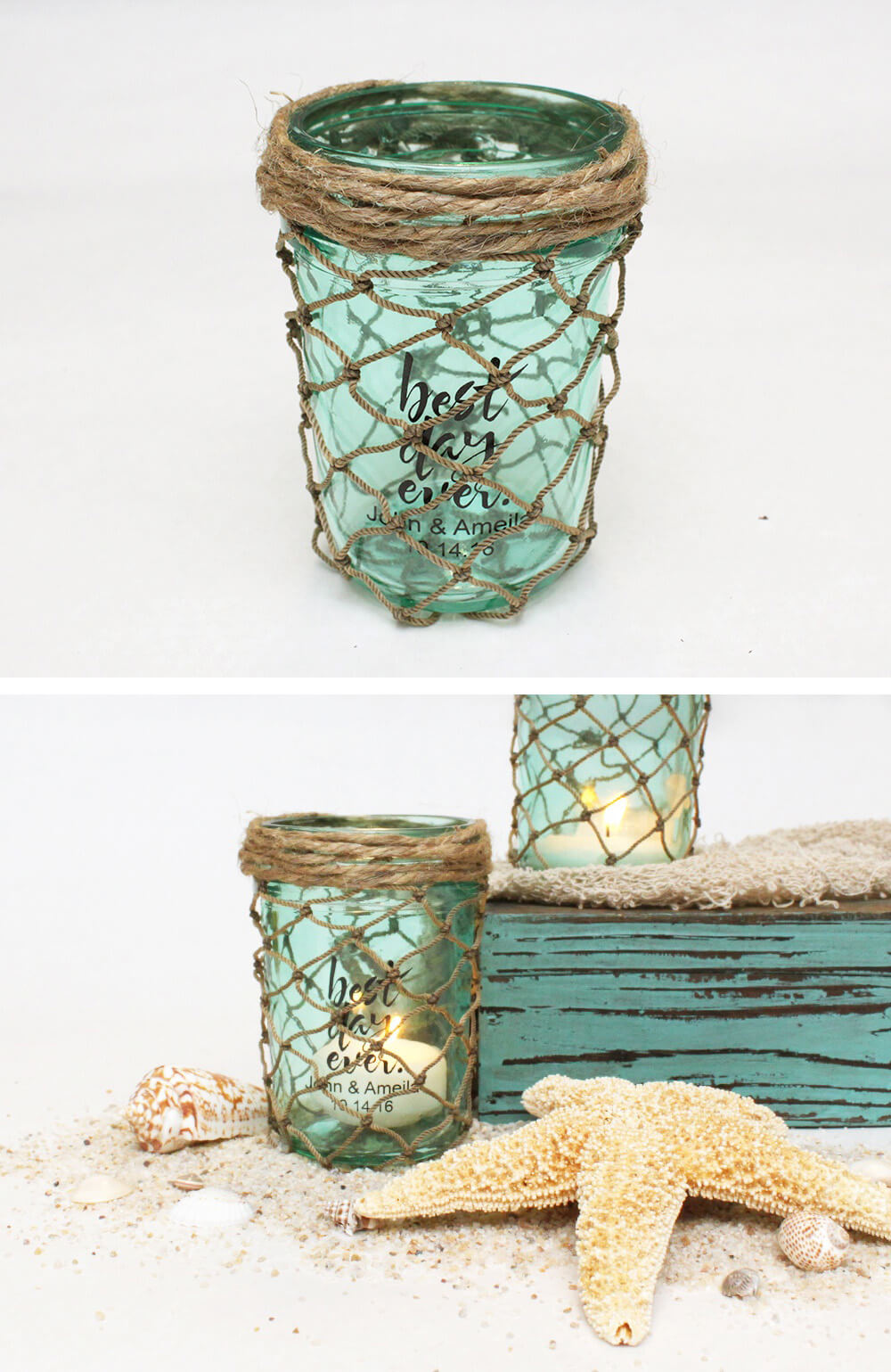 1 cargo netted candle holders on sandy driftwood - Coastal Decor Ideas