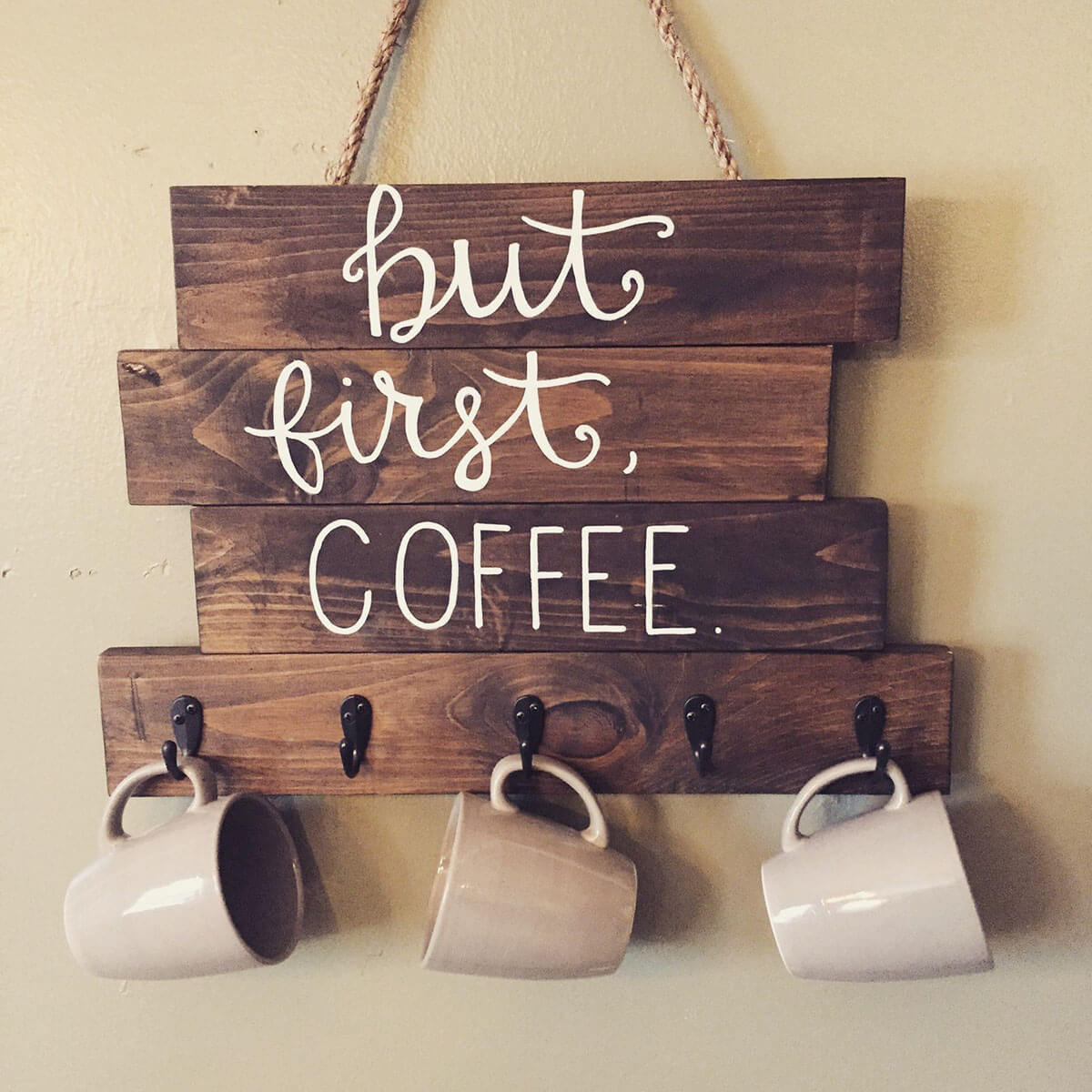 Hand-lettered Wall Sign with Storage Hooks