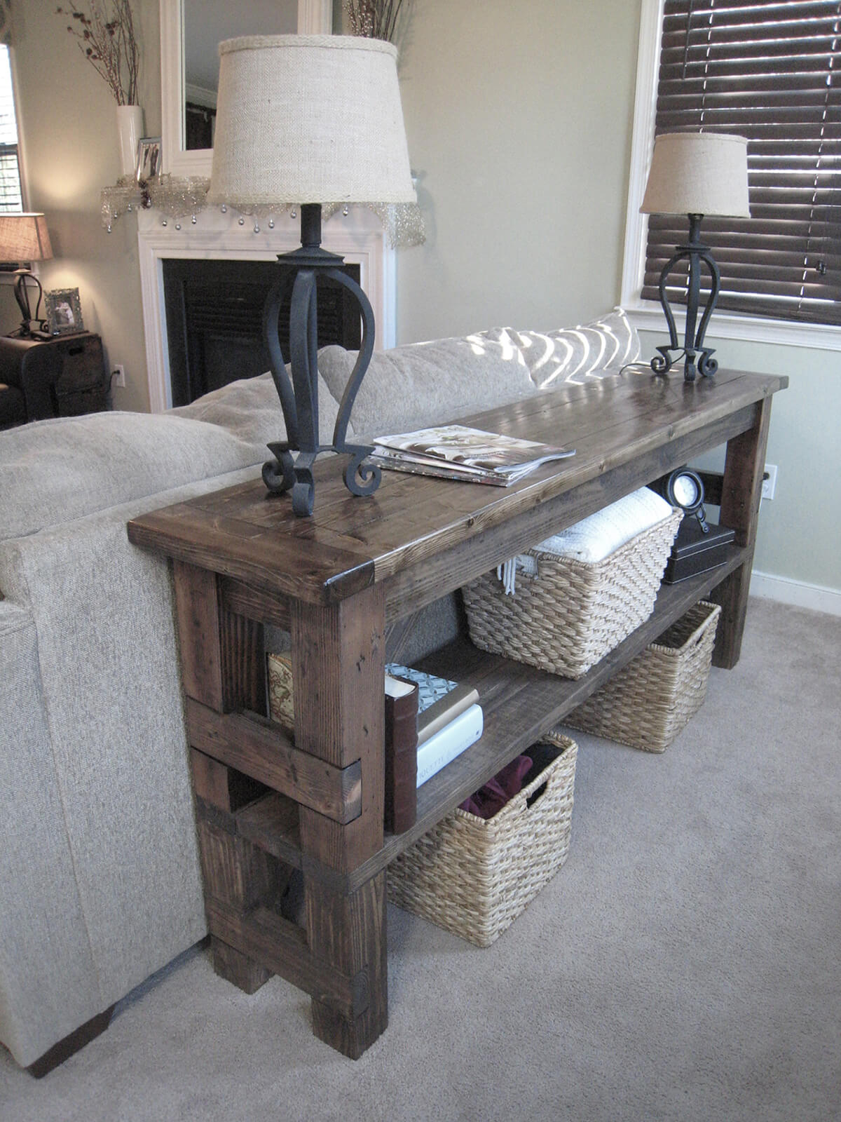 Refitted Block Style Wooden Table