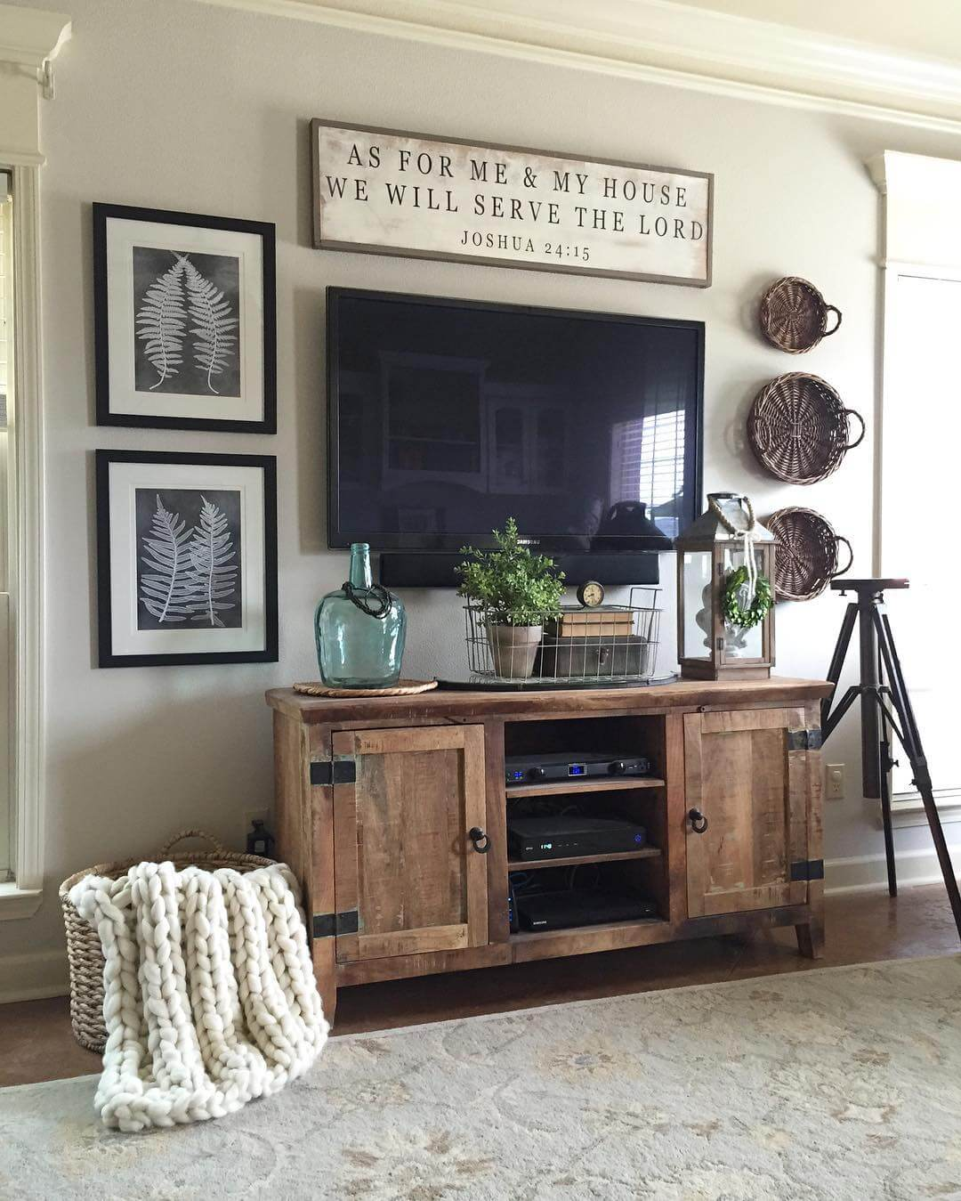 2 rugged barnwood television console cabinet - Modern Farmhouse Living Room