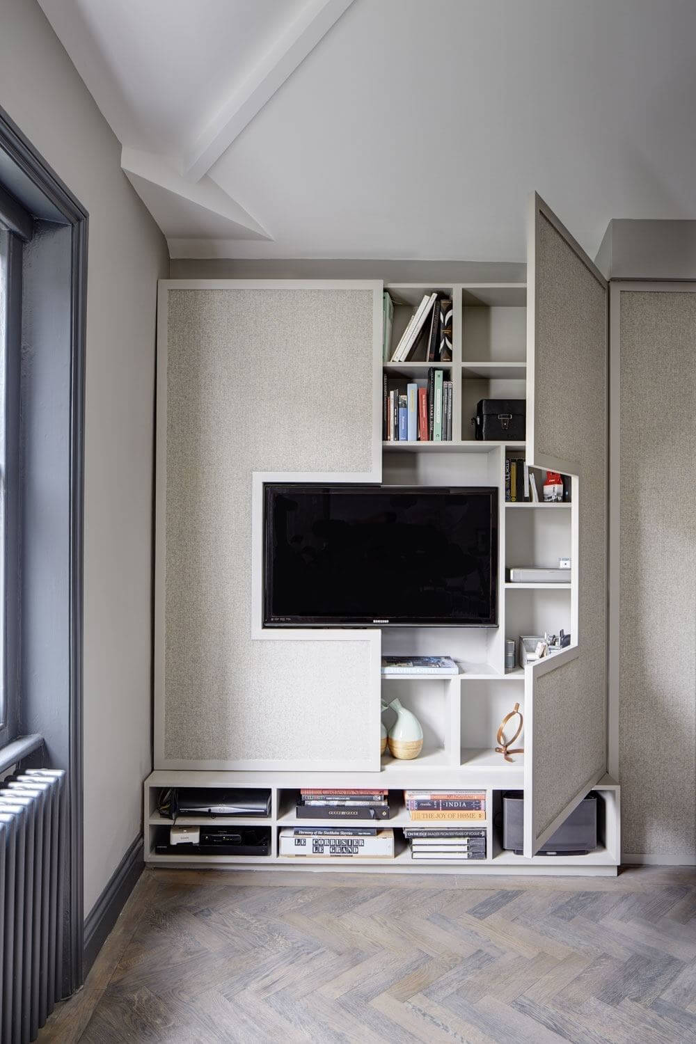 Media Console with Hideaway Shelves