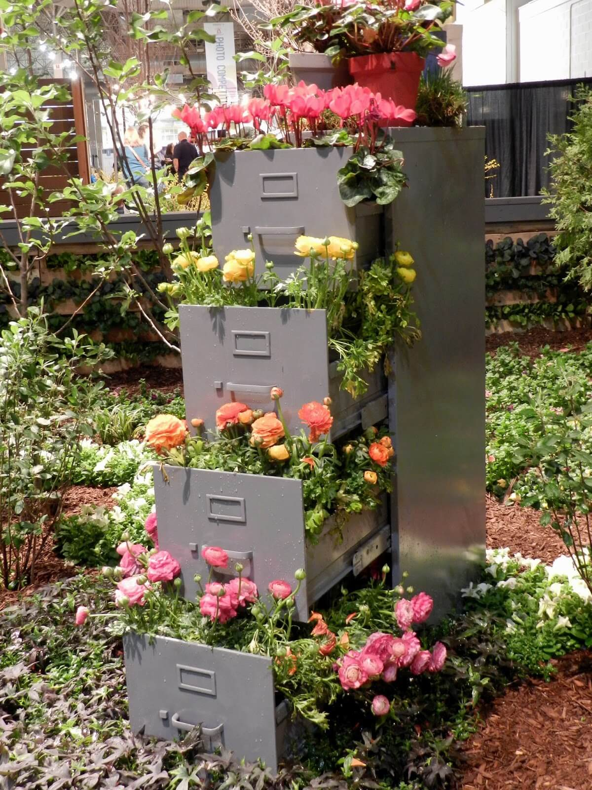 Fancy File Cabinet Turned Flower Tower