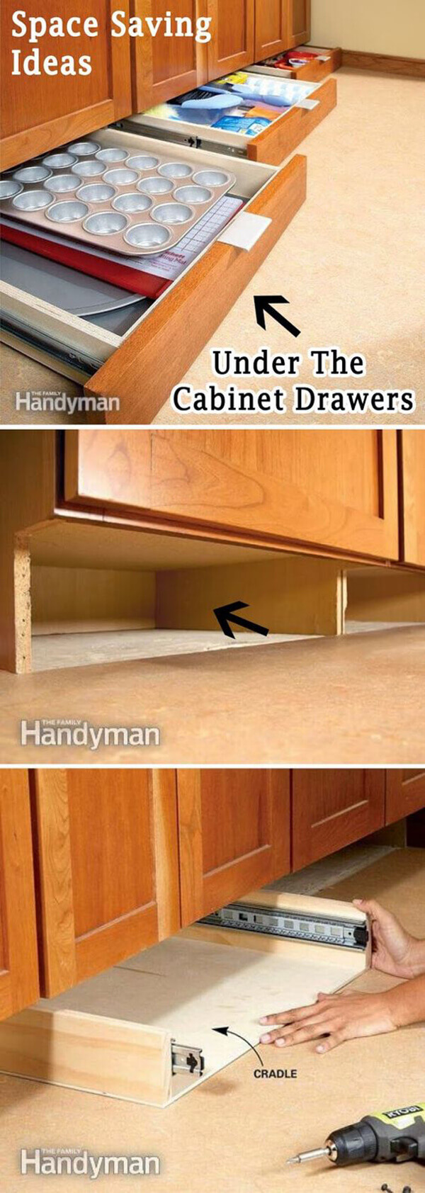 Hidden Kitchen Kick Plate Drawers