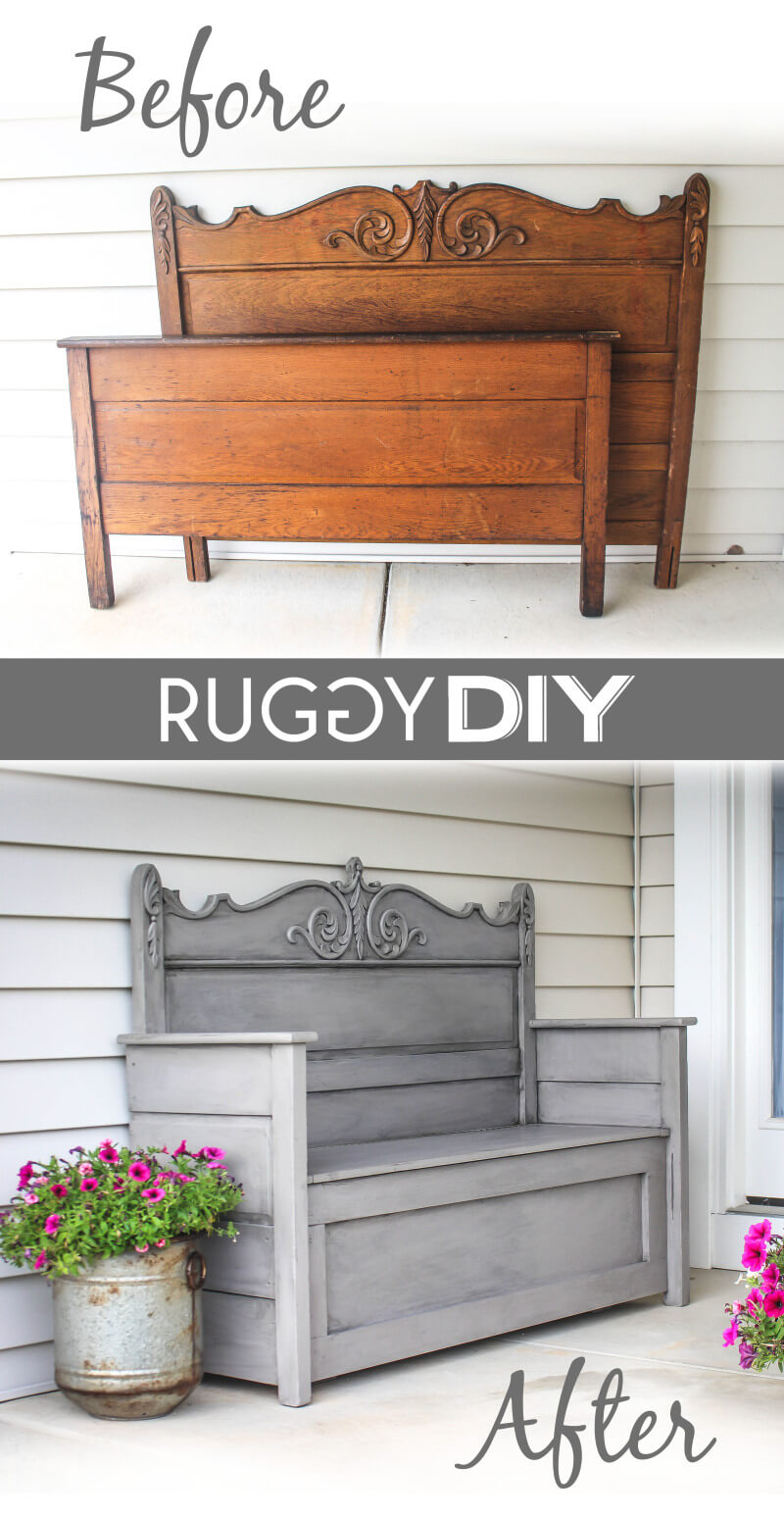 Antique Up-Cycled Head-Board Bench