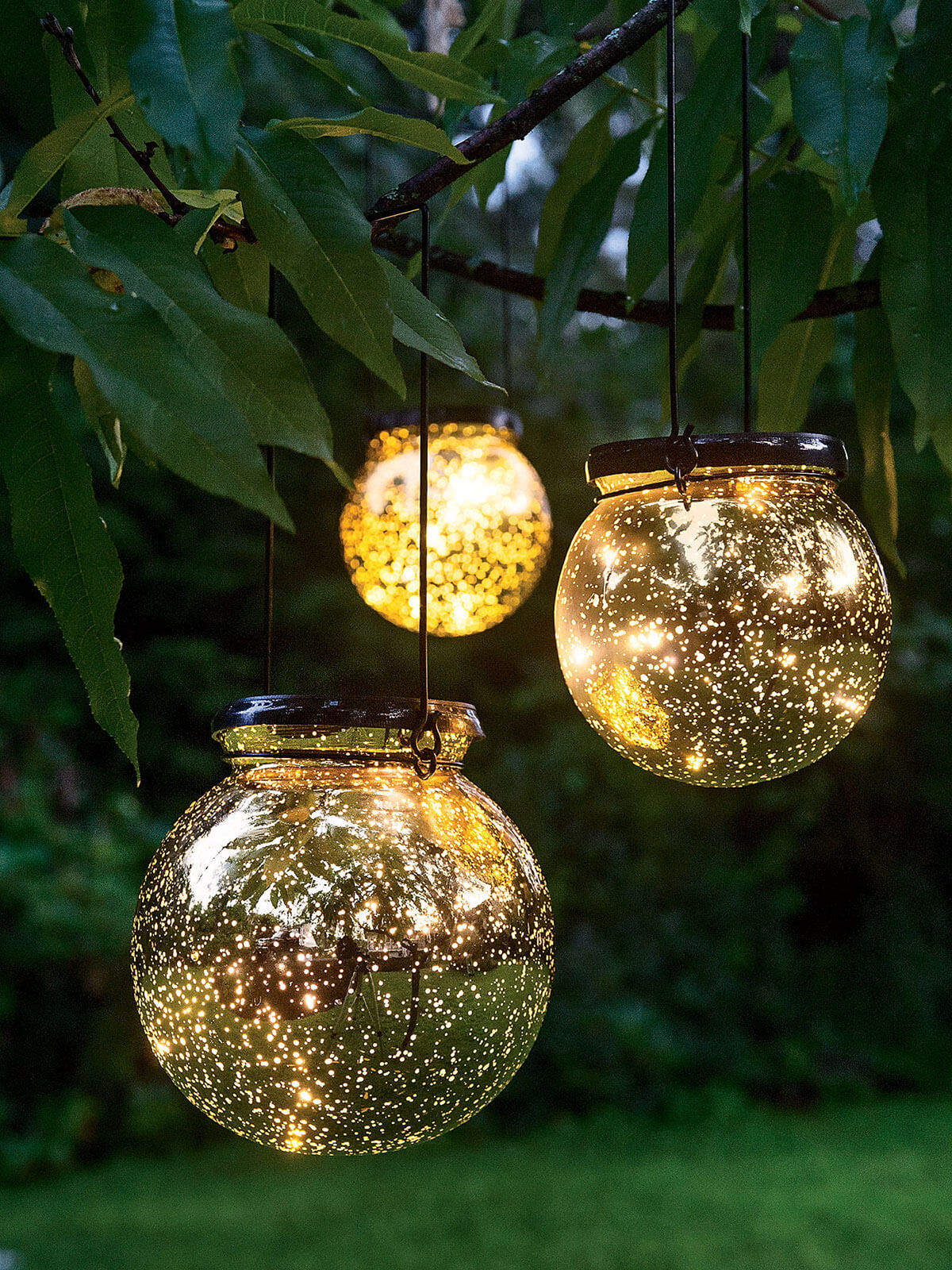 Battery Powered Fairy Lights In Glass Lanterns