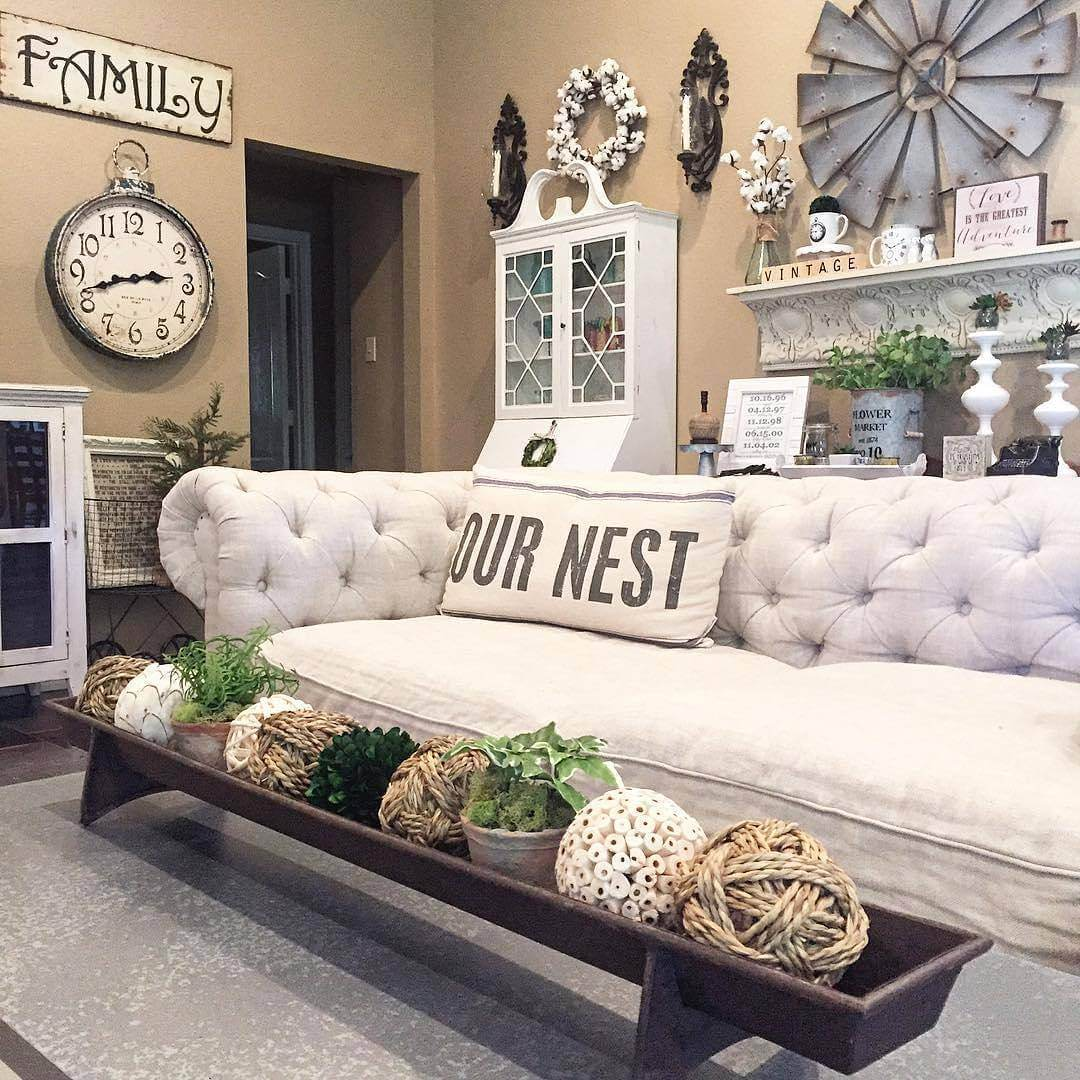Farmhouse Living Room Ideas. 6  Tufted White Couch and French Linen Pillow 35 Best Farmhouse Living Room Decor Ideas Designs for 2018
