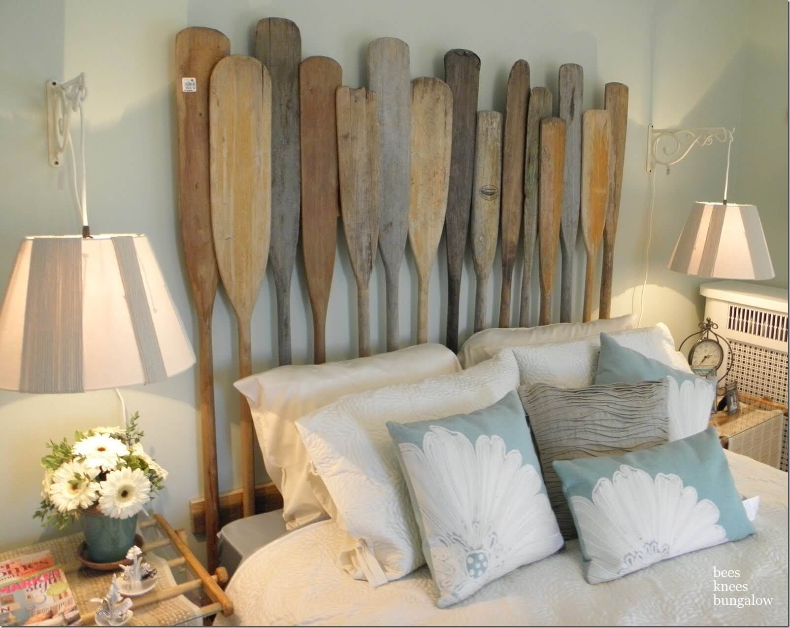A Nautical Headboard with Vintage Oars