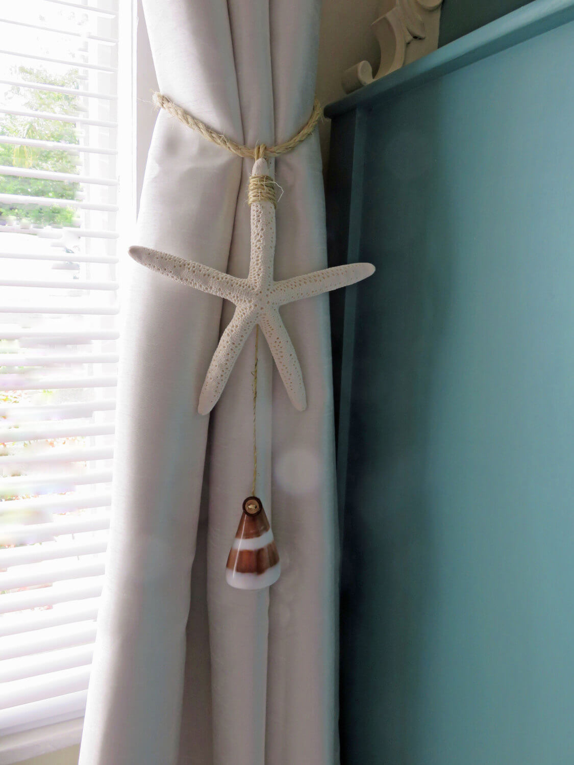 Sandy Colored Curtains with Starfish Tassels
