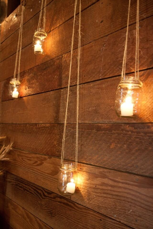 Rustic Hanging Mason Jar Candle Holders