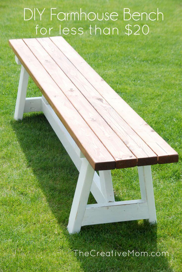Lovely Simple And Easy Farmhouse Bench