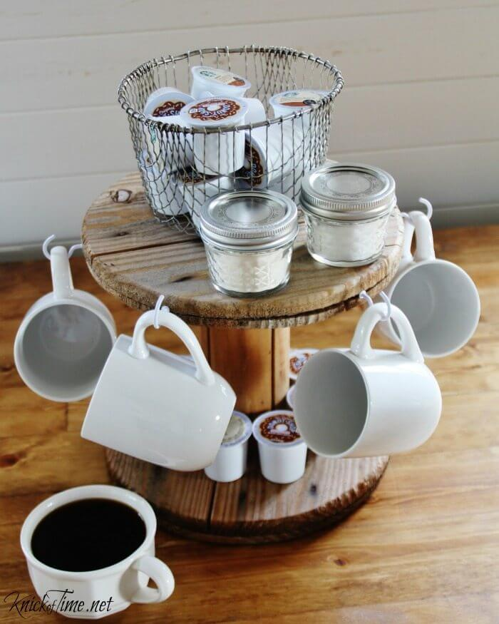 Repurposed Wire Spool Mug Rack