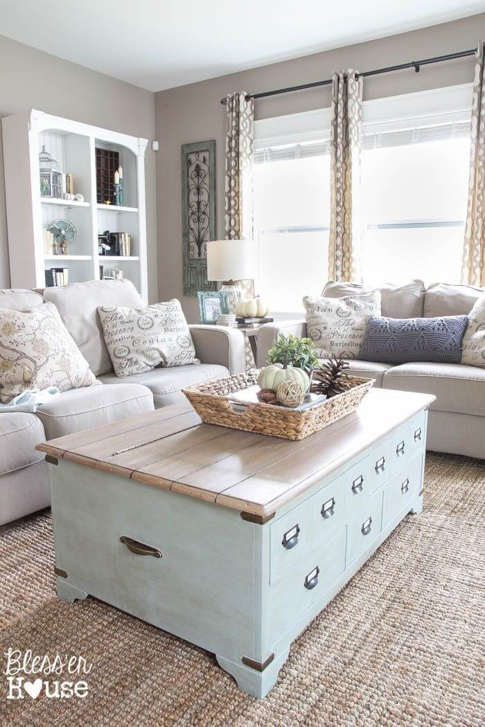 Pale Mint Coffee Table with Internal Storage