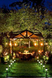 Backyard Dinner Party elegant well-lit backyard dinner party pergola — homebnc