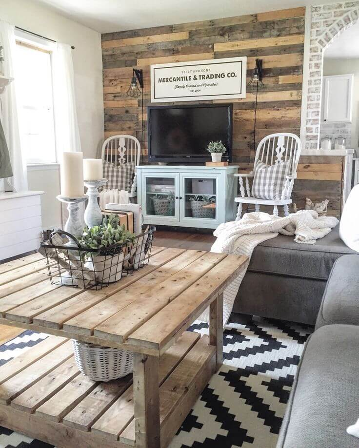 12 recycled rustic barnwood accent wall - Farmhouse Living Room Furniture
