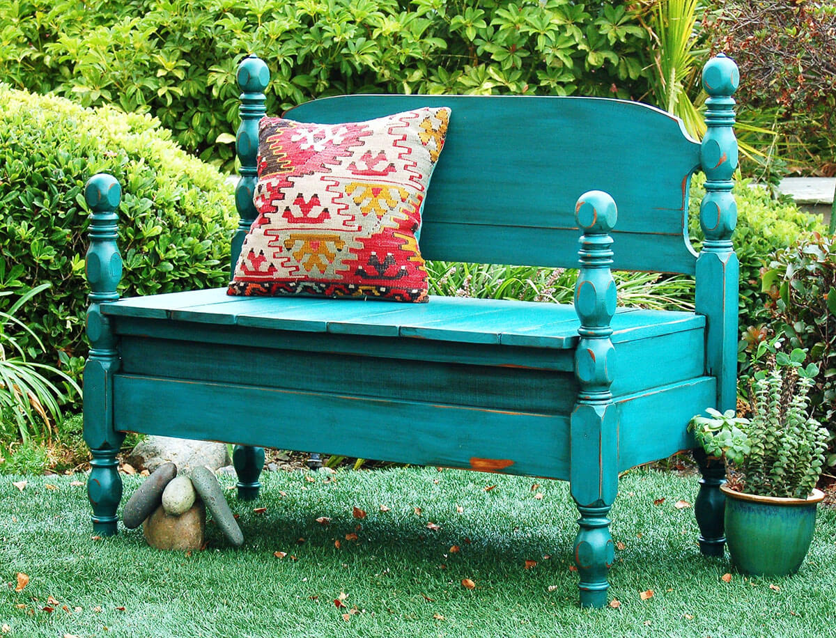 Four-Poster Splash-Of-Color Up-Cycled Head-Board Bench