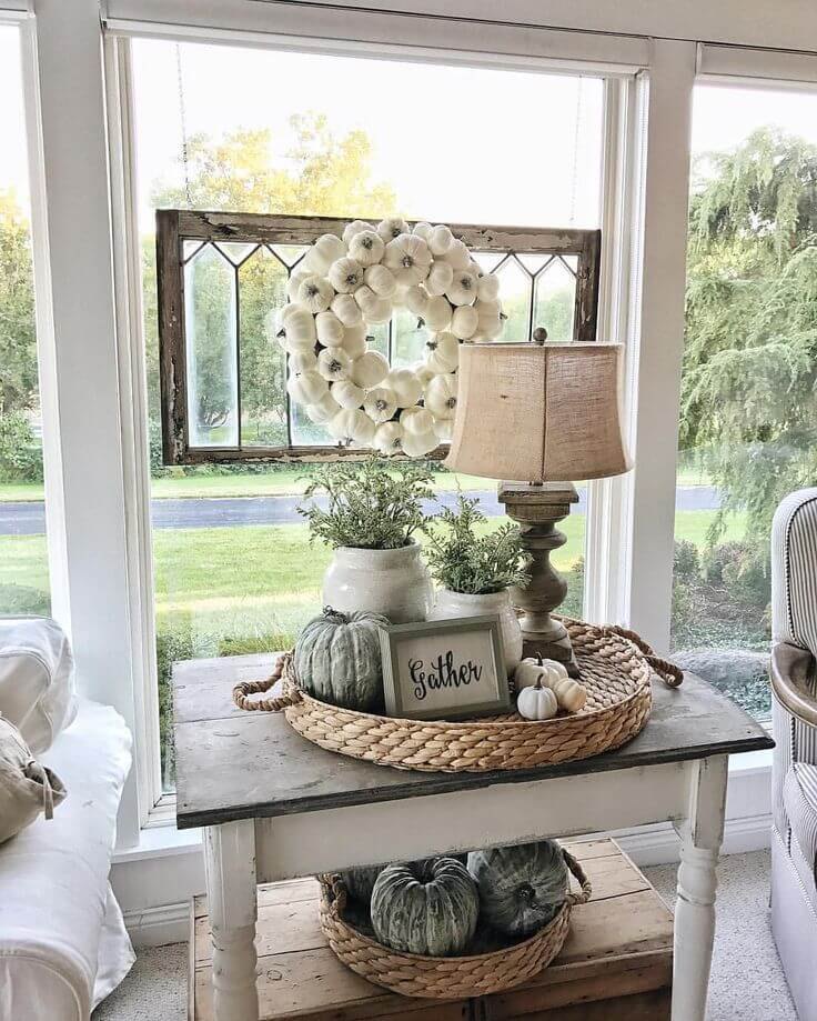 13 autumnal pumpkin end table display - Farmhouse Living Room Furniture
