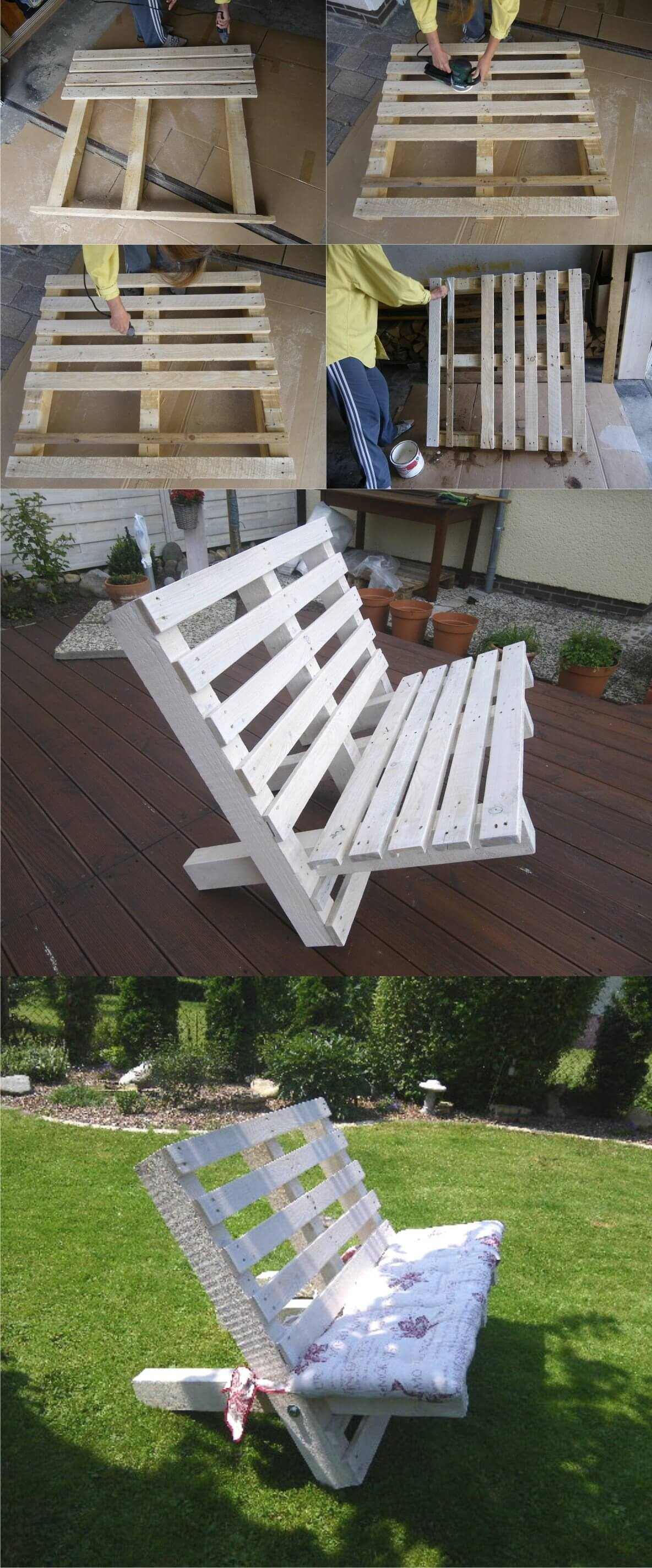 Pallet Bench Ideas Part - 48: A White Bench Created From Two Pallets