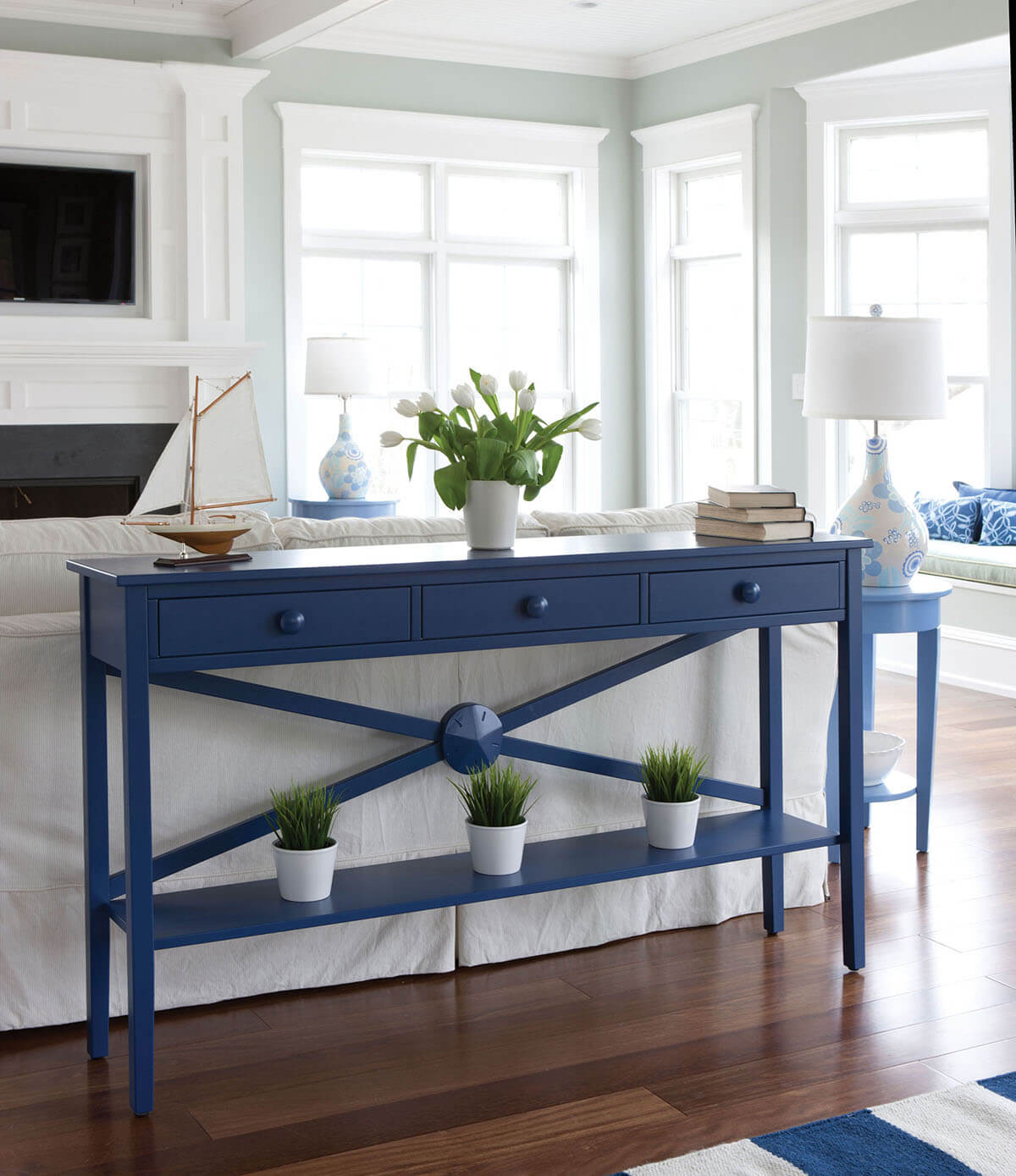 Caribbean Blue Drawer & Runner Sofa Table