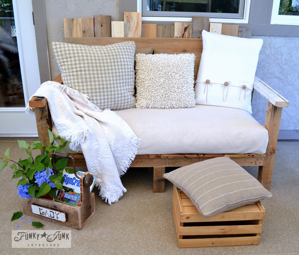A Rustic Bench with a Foot Stool Crate