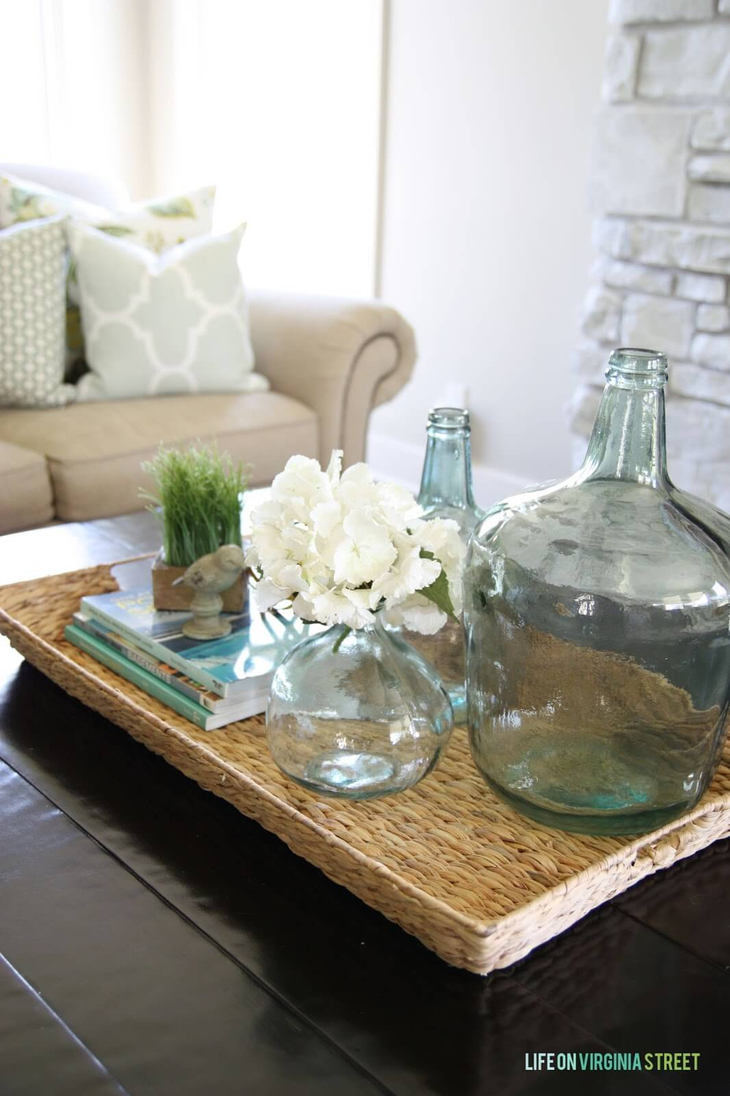A Rustic Wicker Table with Coastal-Themed Accents