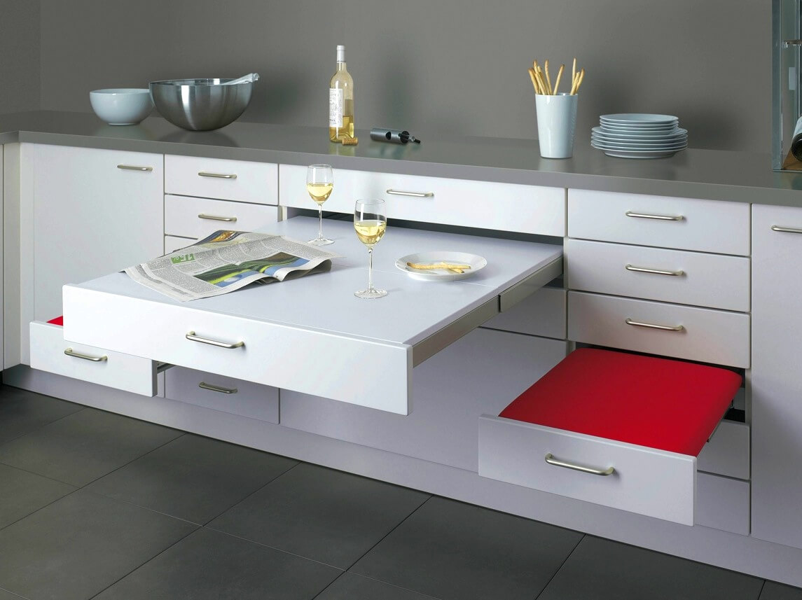 Kitchen Cabinetry with Built-In Table and Benches
