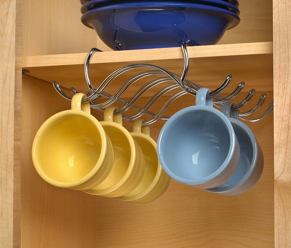 Cupboard-shelf Mounted Mug Hanger