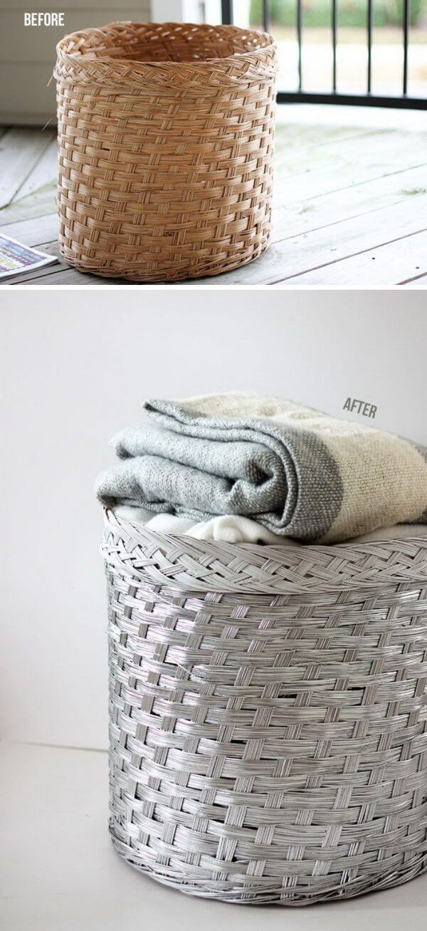 Silver Paint Adds Life to a Wicker Basket