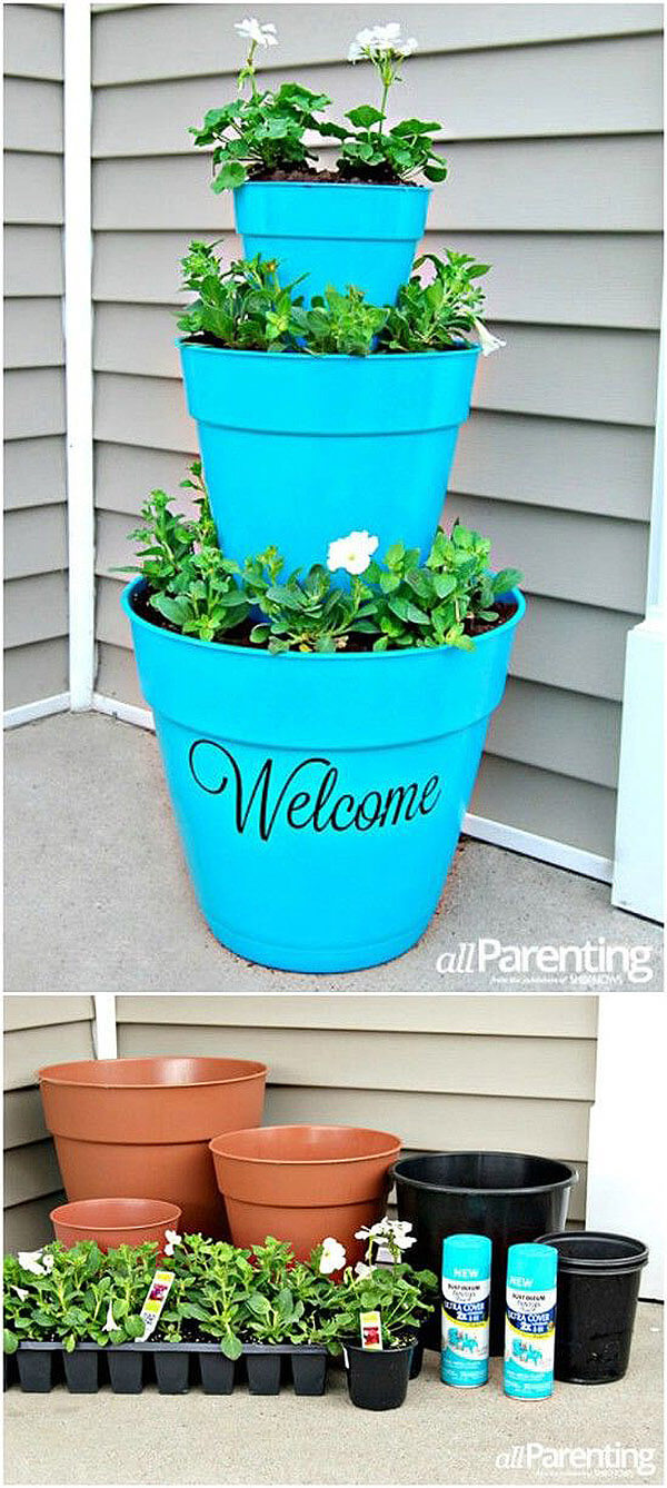 Welcoming Front Porch Flower Tower