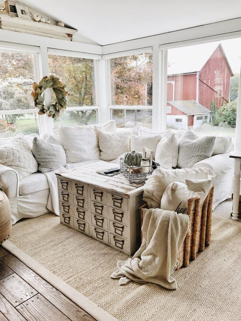 Cozy Slipcover Couch with Knit Pillows
