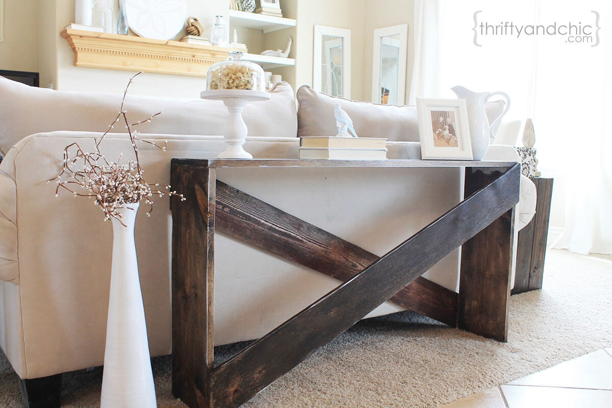Oversized Wooden Crosshatch Sofa Table