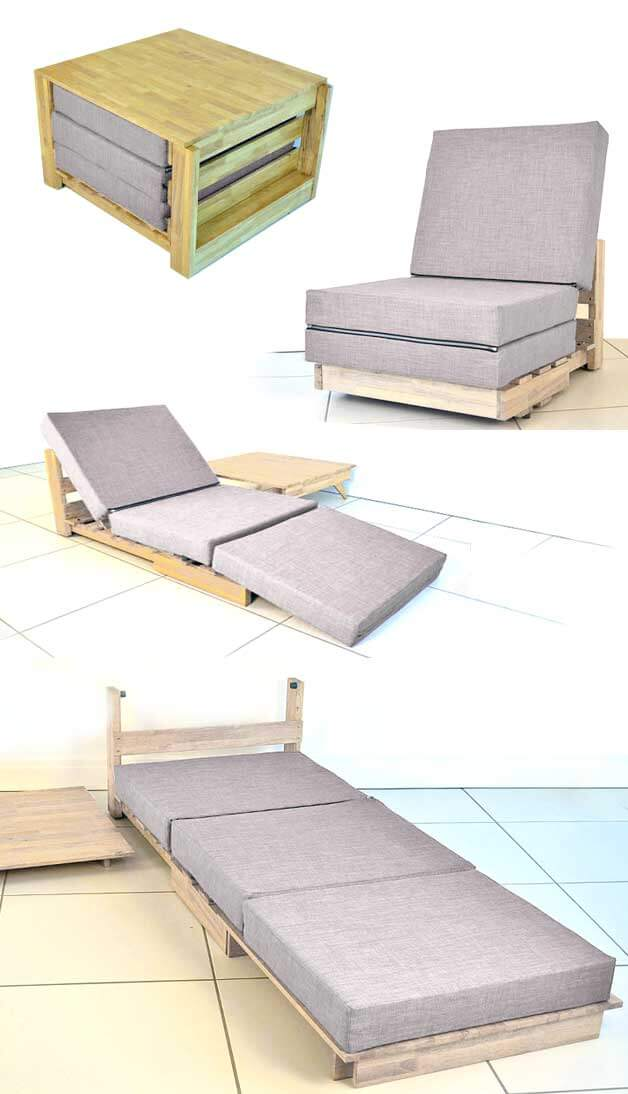 Convertible All-In-One Chair, Bed, and Table