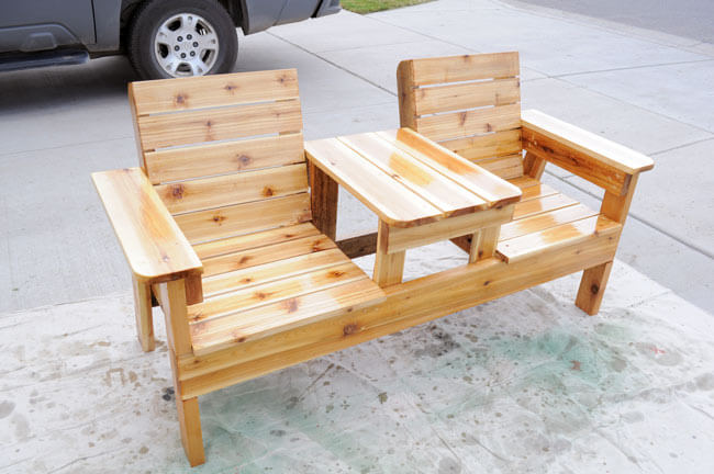 Cabin Style Double Chair Bench with Built-In Shared Table