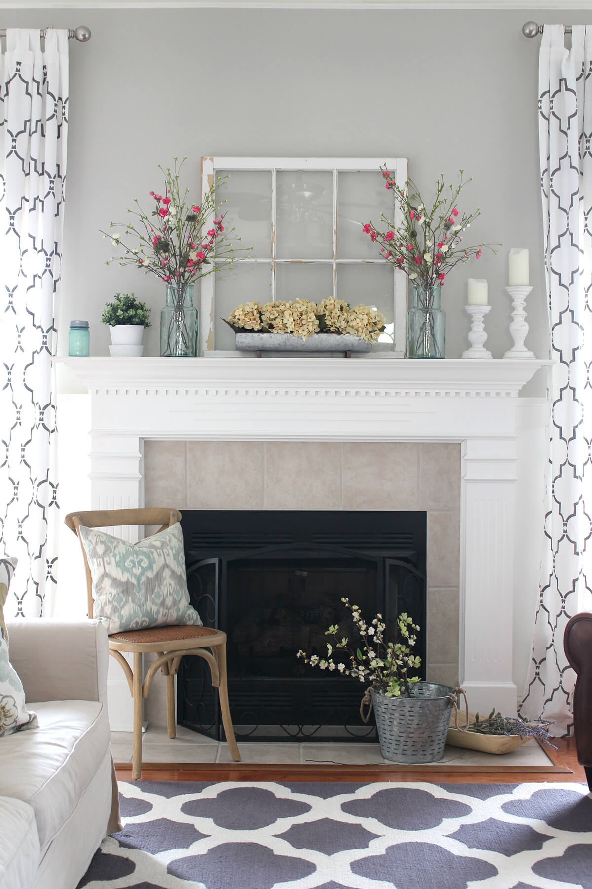 Light and Feminine Country Fireplace Display